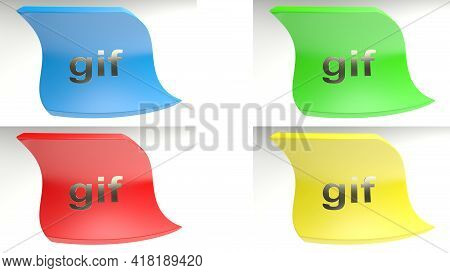 Series Of 4 Colored Icons With The Write Gif, Isolated On White Background - 3d Rendering Illustrati