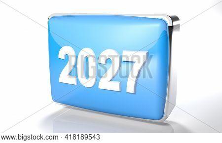 2027 Glossy Blue Box On White Background - 3d Rendering Illustration