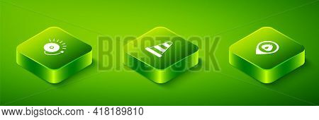 Set Isometric Traffic Cone, Location With Fire Flame And Ringing Alarm Bell Icon. Vector