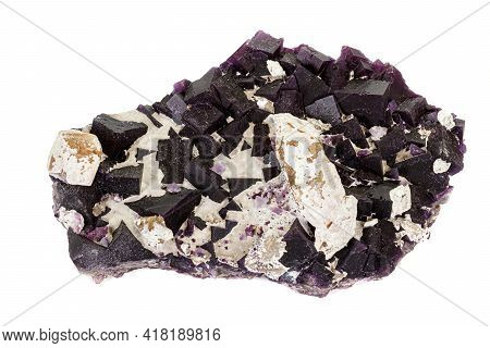 Macro Stone Mineral Fluorite On A White Background Close Up