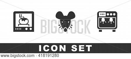 Set 3d Printing Technology, Experimental Mouse And Biosafety Box Icon. Vector