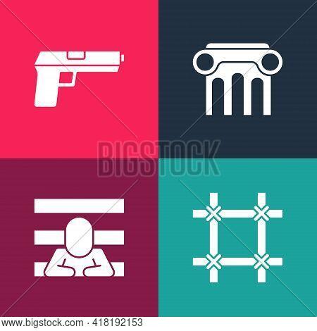 Set Pop Art Prison Window, Prisoner, Law Pillar And Pistol Or Gun Icon. Vector