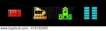 Set Train Ticket, High-speed Train, Railway Station And Railway, Railroad Track Icon. Vector