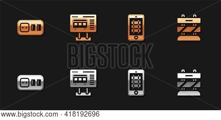 Set Electrical Outlet, Ticket Office To Buy Tickets, Buy Train Online And End Railway Tracks Icon. V