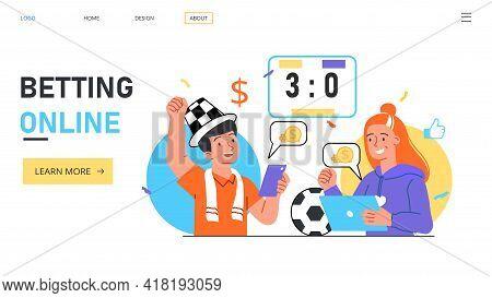 People Bet Using Mobile App. Sport Event Live Broadcast. Jack Pot Winning Concept. Flat Abstract Met