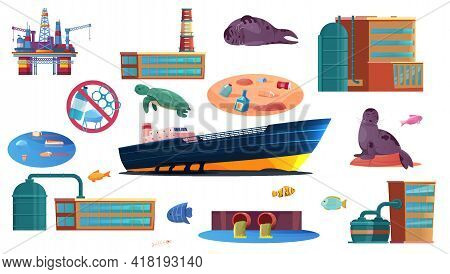 Ocean Pollution Flat Set Of Industrial Objects Polluting Water Surface Waste Products And Sea Inhabi