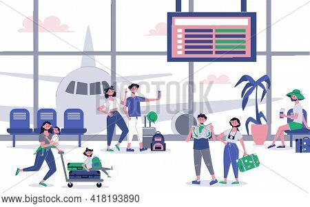 Vacation Travel With Airport Hall Interior Passengers Arrival Departure Board Aircraft Behind Glass