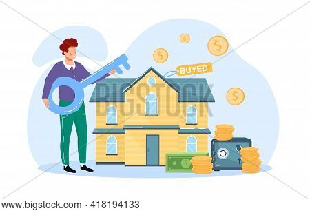 Buying A House, Home, Real Estate In Residential Area. Mortgage, Loan Or Money Investment To Real Es