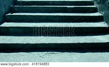 Contrast Empty Cement Steps In The Sun Lighting. Stone Stairs Up To The Top.