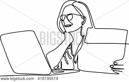 Happy Old Businesswoman Hr Holding Cv Interviewing Distance Applicant, Senior Seeker Searching Job O