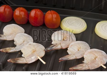 fresh shrimp on a grill