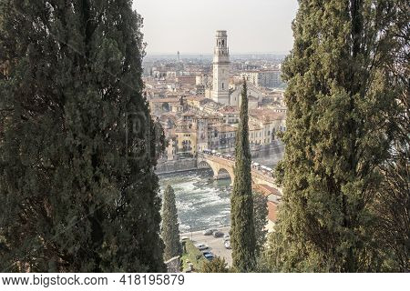 Verona, Beautiful View Of The Historic Center.