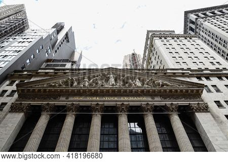 New York City, Usa - June 20, 2018: Low Angle View Of New Stock Stock Exchange Building. The New Yor