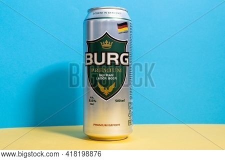 Tyumen, Russia-april 17, 2021: Burg Premium Beer Aluminum Can. Dargyuner Brevery Is Exported To More