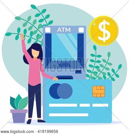 Vector Illustration Of Modern Business Concept Style. The Character Of The Person Makes Money Withdr