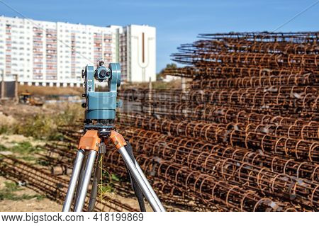 Surveyor Equipment Gps System Or Theodolite Outdoors At Highway Construction Site.measuring Instrume