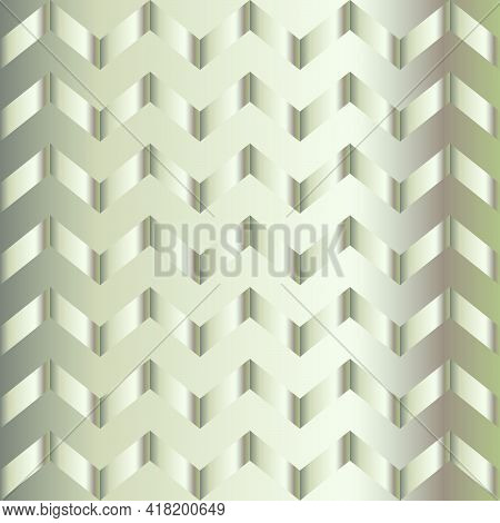 Metal Gradient Chevron Pattern. Abstract Modern Vector Background. Shiny Metallic Zigzag Wallpaper.