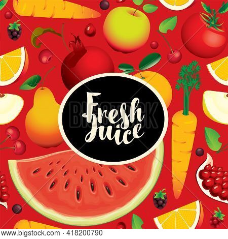 Fruit Seamless Pattern With Sliced And Whole Fruits, Berries, Vegetables On A Red Backdrop. Summer V