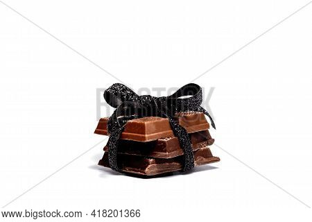 Dark Chocolate Bars Isolated On A White Background