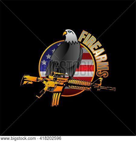 Illustration Vector Graphic Of Assault Rifle Logo Design