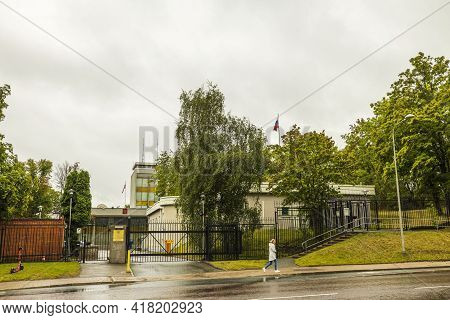 Landscape View Of Building Of Russian Embassy In Stockholm On Rainy Autumn Day. 09.08.2020. Stockhol