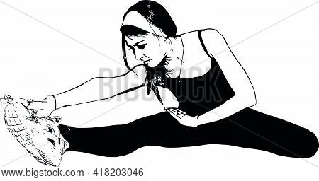 Athletic, Slender Girl Does Exercises To Stretch The Muscles. Vector Black And White Images