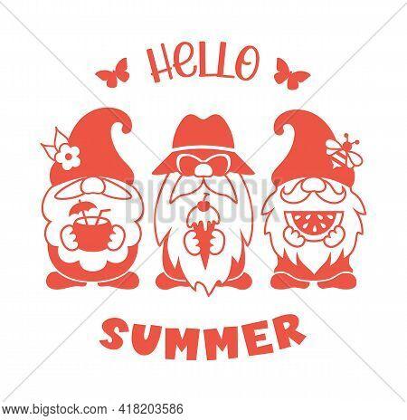 Summer Gnome Vector Silhouette. Hello Summer Design.
