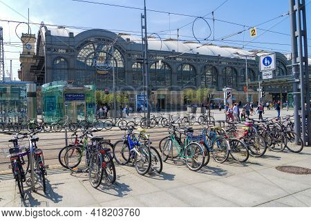 Dresden, Germany - April 29, 2018: View Of The Building Of The Main Railway Station Of Dresden (dres