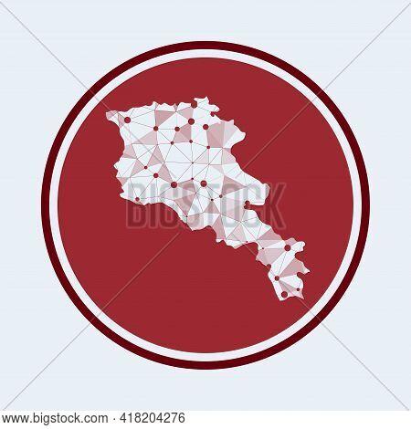Armenia Icon. Trendy Tech Logo Of The Country. Geometric Mesh Round Design. Technology, Internet, Ne