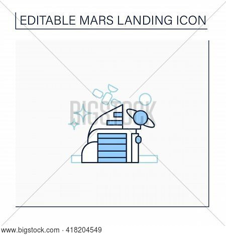 Space Center Line Icon. Research And Development Cosmos Issue. Special Place Observing Cosmos.mars L