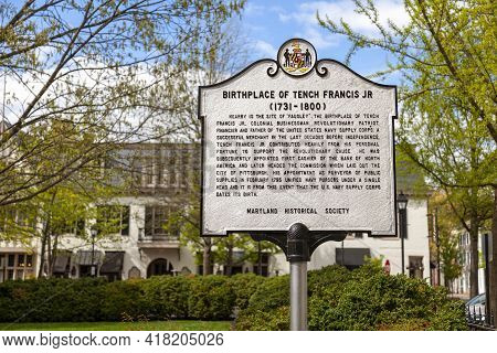 Easton, Md, Usa 04-16-2021: A Signpost Erected By Maryland Historical Society On The Location Of The