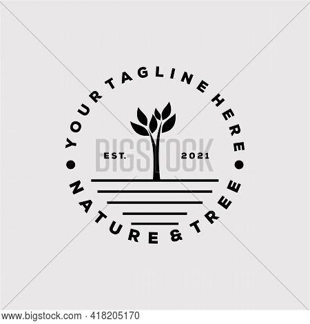 Vintage Nature And Tree Logo Vector Illustration Design. Minimalist Nature Symbol