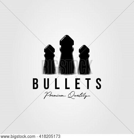 Silhouette Bullets Isolated Logo Template Vector Illustration Design. Simple Ammo, Pellets, Ammuniti