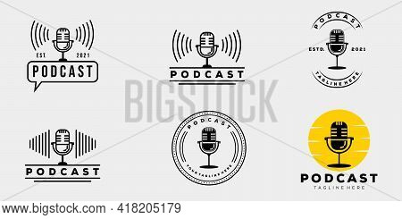 Collection Podcast Company Vintage Badge Logo Template Vector Illustration Design. Simple Hipster Mi