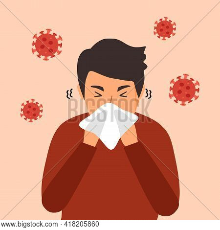 A Man Cover His Sneeze With Handkerchief Vector Illustration. Sneezing Man In Red T-shirt With Virus