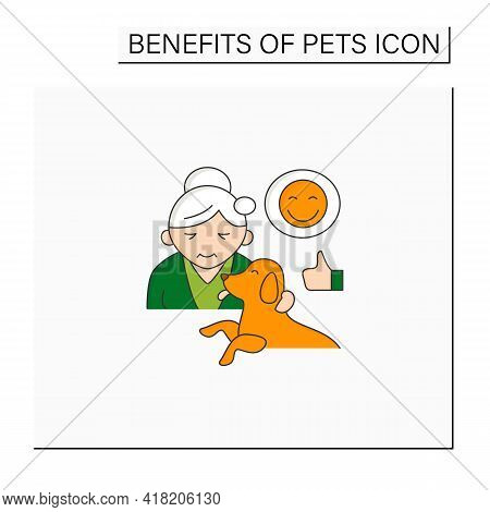 Pets Benefits Color Icon. Dog Provide Valuable Companionship For Older Adults. Healthy Aging. Animal