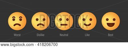 Feedback Scale Service With Emotion Icons. User Experience Rate With Feedback Scale. Yellow Emoji Fo