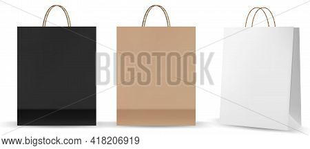 Shopping Bag Mockups. Paper Package Isolated On White Background. Realistic Mockup Of Craft Paper Ba
