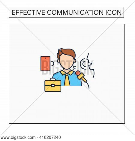 Verbal Communication Color Icon. Share Information To People. Motivation Speech.job Interview, Dialo