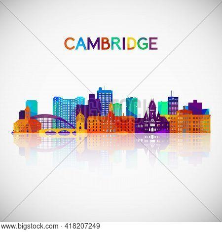 Cambridge, Massachusetts Skyline Silhouette In Colorful Geometric Style. Symbol For Your Design. Vec