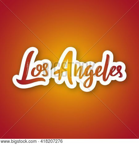 Los Angeles - Handwritten Name Of The Us City. Sticker With Lettering In Paper Cut Style. Vector Des