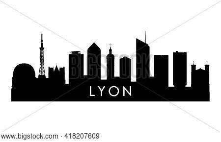 Lyon Skyline Silhouette. Black Lyon City Design Isolated On White Background.