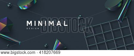 3d Render Primitives Abstract Background. Realistic 3d Sphere, Atom Array Grid, Cone, Tube. Glossy H