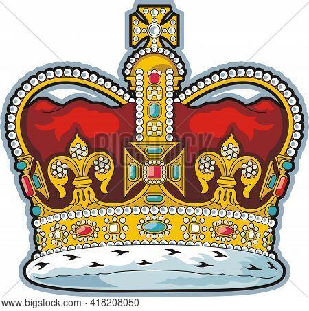 British Gold Crown Of Saint Edward. Monarchy Symbol.