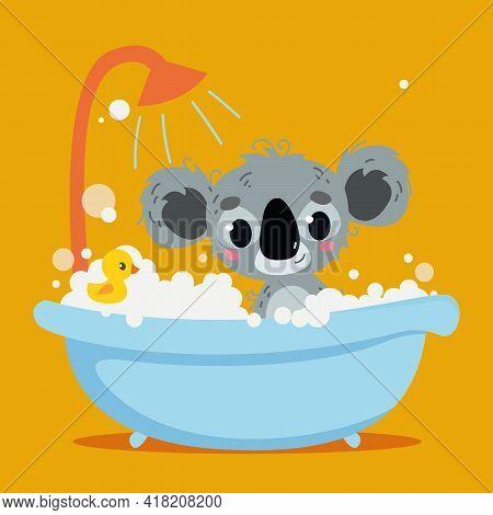 Cute Gray Koala Bathes In The Bathtub. Orange Background Interior. Vector Print For Children. Cartoo