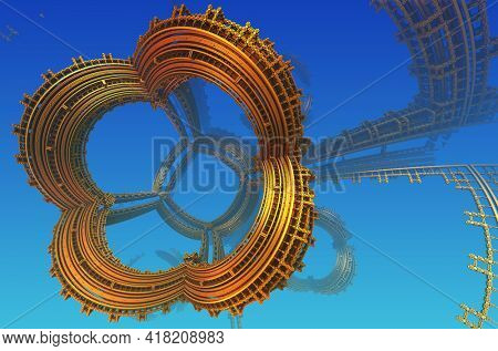 Abstract background, fantastic ancient civilization architecture 3D structures, fictional sci fi background.