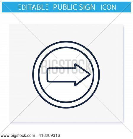 Arrow Symbol Line Icon. Navigation Pointer. Left Direction. Road Traffic Sign. Public Place Navigati