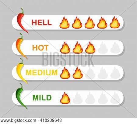 Chili Pepper Strength Scale Indicator. Mild, Medium, Hot And Hell Level. Vector Illustration Isolate
