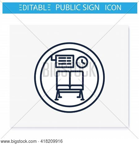 Waiting Room Symbol Line Icon. Waiting Chairs, Lounge Zone. Travel Service Sign. Public Place Naviga