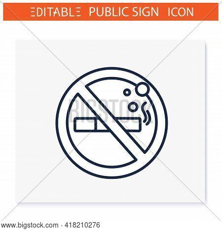 No Smoking Symbol Line Icon. Forbidden To Smoke. Stop Smoking. Public Place Navigation. Universal Pu